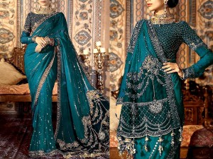 Handwork Heavy Embroidered Chiffon Saree with Inner Price in Pakistan