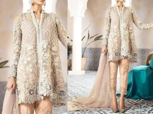 Heavy Embroidered Net Bridal Dress with Net Dupatta