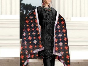 Embroidered Black Chiffon Dress with Phulkari Embroidered Dupatta