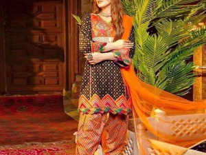 Traditional Style Embroidered Lawn Suit 2021 with Chiffon Dupatta
