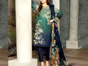 Trendy Embroidered Lawn Suit 2021 with Chiffon Dupatta