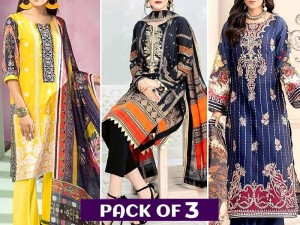 Pack of 3 Embroidered Lawn Suits Wholesale Price in Pakistan