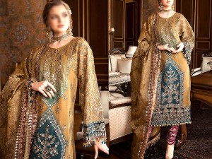 Heavy Embroidered Chiffon Wedding Dress with Organza Dupatta Price in Pakistan