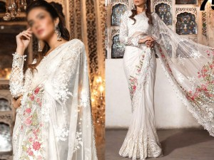 Designer Heavy Embroidered White Net Saree with Inner Price in Pakistan