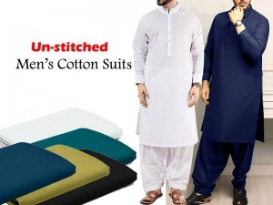 Pack of 2 Unstitched Swiss Cotton Men's Suits of Your Choice Price in Pakistan