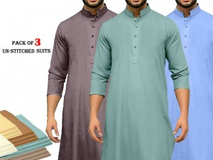 Pack of 3 Unstitched Men's Wash n Wear Suits of Your Choice Price in Pakistan