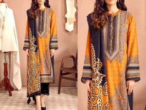 Heavy Embroidered Lawn Dress 2021 with Scroll Embroidered Chiffon Dupatta Price in Pakistan