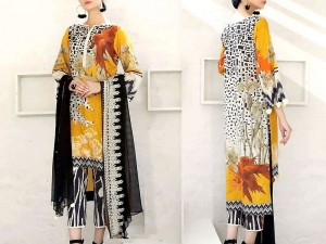 Elegant Embroidered Lawn Dress 2021 with Chiffon Dupatta Price in Pakistan