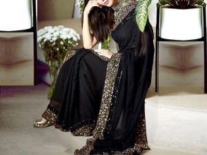 Sequins Work Embroidered Black Chiffon Saree Price in Pakistan