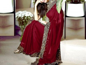 Sequins Work Embroidered Maroon Chiffon Saree Price in Pakistan