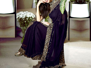 Sequins Work Embroidered Purple Chiffon Saree Price in Pakistan