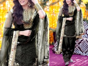 Mirror Work Embroidered Organza Black Wedding Dress Price in Pakistan