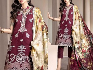 Embroidered Lawn Dress 2021 with Lawn Dupatta Price in Pakistan
