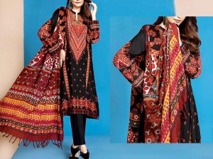 Embroidered Black Lawn Dress 2021 with Chiffon Dupatta Price in Pakistan