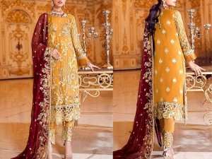 Heavy Embroidered Formal Chiffon Wedding Dress Price in Pakistan