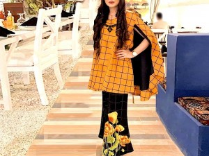 2-Pcs Embroidered Cotton Lawn Suit with Embroidered Trouser Price in Pakistan
