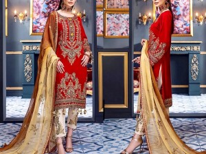 Heavy Embroidered Red Chiffon Wedding Dress Price in Pakistan