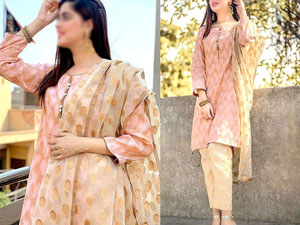 Banarsi Style Cotton Jacquard Suit with Organza Jacquard Dupatta Price in Pakistan