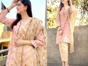 Banarsi Style Cotton Jacquard Dress with Organza Jacquard Dupatta Price in Pakistan