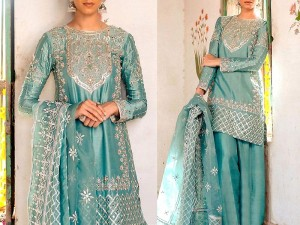 Mirror Work Embroidered Masoori Dress with Embroidered Net Dupatta Price in Pakistan