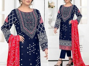 Mirror Work Embroidered Navy Blue Cotton Dress with Silk Dupatta Price in Pakistan