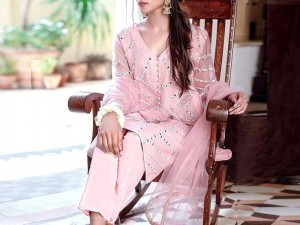 Unstitched Mirror Work Embroidered Organza Kurti with Inner Price in Pakistan