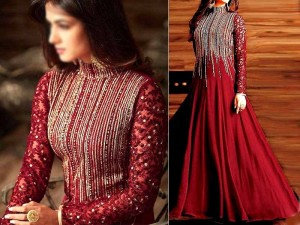 Indian Embroidered Maroon Chiffon Maxi Dress