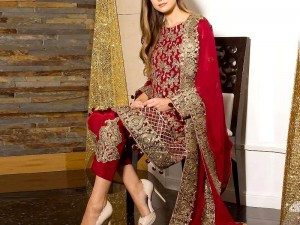 Heavy Embroidered Red Formal Chiffon Party Dress Price in Pakistan