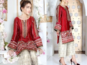 Heavy Embroidered Red Cotton Dress with Embroidered Trouser Price in Pakistan