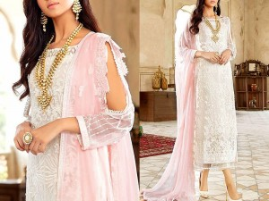 Heavy Embroidered White Formal Chiffon Wedding Dress Price in Pakistan