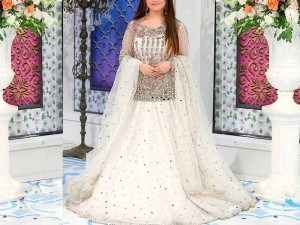 Mirror Work Heavy Embroidered Net Bridal Lehenga Dress