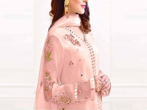 Elegant Mirror Work Embroidered Paper Cotton Dress 2021 with Silk Trouser Price in Pakistan
