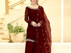 Mirror Work Embroidered Maroon Chiffon Suit with Net Dupatta