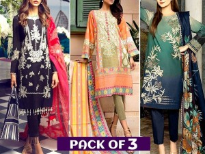 Pack of 3 Embroidered Lawn Suits Wholesale