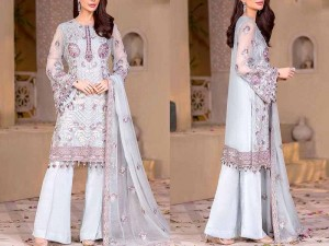Handwork Heavy Embroidered Formal Chiffon Wedding Dress Price in Pakistan