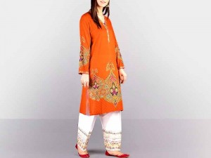 2-Pcs Embroidered Lawn Suit with Embroidered Trouser