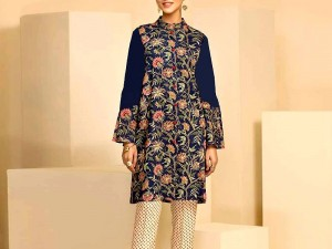 Full-Front 2-Pcs Embroidered Lawn Dress 2021 with Embroidered Trouser