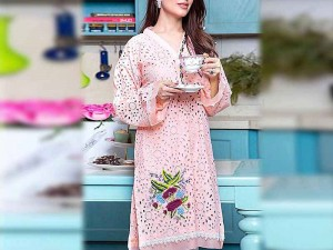 2-Pcs Schiffli Embroidered Lawn Dress 2021 with Embroidered Trouser Price in Pakistan