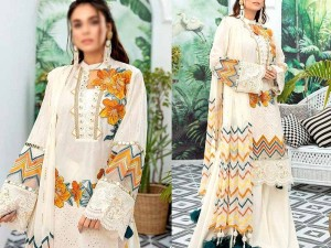 Luxury Schiffli Embroidered Lawn Eid Dress 2021 with Embroidered Chiffon Dupatta Price in Pakistan