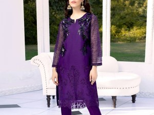 Embroidered Purple Organza Kurti with Inner