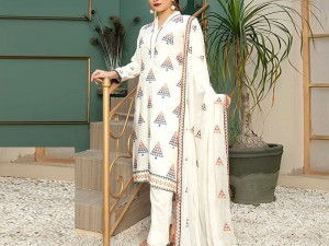 Heavy Embroidered White Cotton Lawn Dress 2021 with Emb. Chiffon Dupatta Price in Pakistan