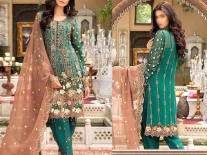 Heavy Embroidered Green Formal Chiffon Wedding Dress Price in Pakistan