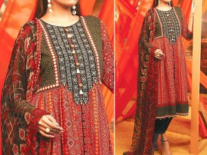 Traditional Style Embroidered Lawn Dress with Printed Chiffon Dupatta Price in Pakistan