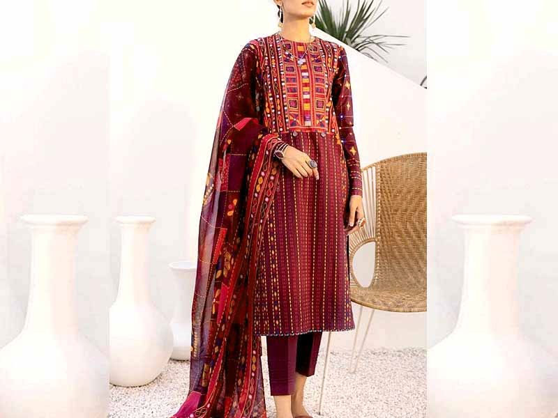 Heavy Embroidered Lawn Suit 2021 with Lawn Dupatta Price in Pakistan