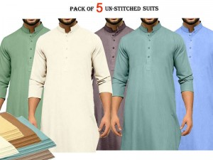 Pack of 5 Unstitched Wash n Wear Men's Shalwar Kameez Wholesale Price in Pakistan
