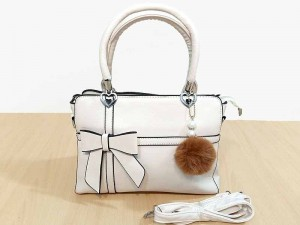 Bow Tie Style Women's Satchel Bag with Hanging Pom Pom Price in Pakistan