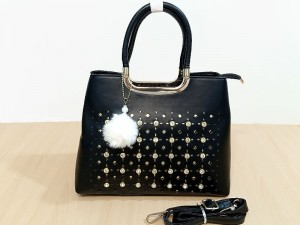 High Quality Ladies Black Handbag with Hanging Pom Pom Price in Pakistan