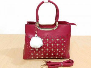 High Quality Faux-Leather Ladies Maroon Handbag with Hanging Pom Pom Price in Pakistan