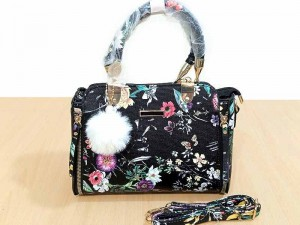 Floral Pattern Women's Satchel Handbags with Hanging Charm Price in Pakistan