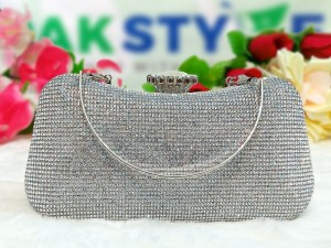 Luxury Diamante Crystal Silver Bridal Clutch Bag Price in Pakistan